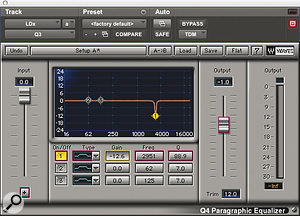 """The """"parallel exciter"""" chain used to add top end to Phil Collins' lead vocal: two EQs, followed by Waves' LA2A compressor emulation."""