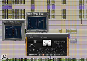 This screenshot shows Alan Moulder's plug-in effects chain for the bass pedals.