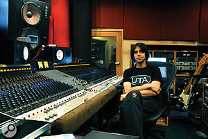Eric Valentine in the control room at his Barefoot Studios, at the custom‑built mixing desk that was under construction during the recording of the Slash album.