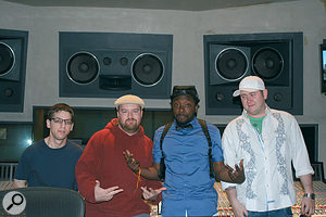 Dylan Dresdow (centre left) with will.i.am (centre right), mix assistant Joe Peluso (left) and Record Plant engineer Padraic 'Padlock' Kerin (right) during the making of The END.