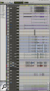 This composite screen capture shows the complete Pro Tools Session for 'Paper Airplane'. Note Mike Shipley's extensive use of automation. The two stereo tracks at the bottom are mixdowns recorded back into Pro Tools.