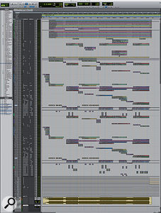 The Pro Tools session for Ken Andrews' mix of Paramore's 'Still Into You' consists of 81 music tracks.