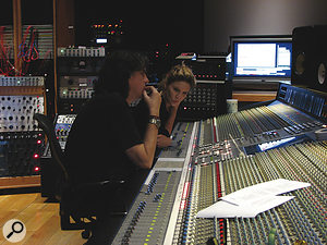 Shipley with Alison Krauss at House Of Blues Studios during the making of Paper Airplane.