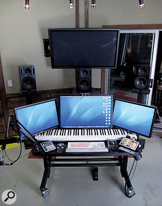 Ken Andrews prefers to use neither amixing desk nor amix control surface, relying instead on atrackball, PreSonus Faderport and three large flat-screen monitors.