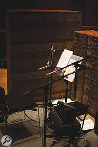 Most of the acoustic instruments on the album were tracked using spaced pairs of Neumann KM54 small‑diaphragm condenser mics.