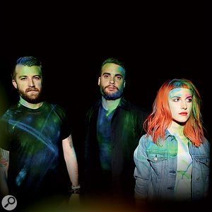 The cover of the album, featuring (from left) Jeremy Davis, Taylor York and Hayley Williams.