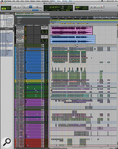 This composite screenshot shows the entire Pro Tools Session for 'Green'. Note the extensive colour-coding and use of groups (as shown at left).
