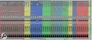 The Pro Tools Mix window for 'Cousins', with colour‑coded tracks indicating, from left, drums, bass, guitars and vocals.