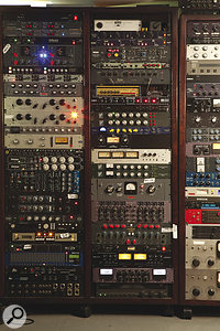 This is just a part of Flora's healthy collection of outboard equipment.