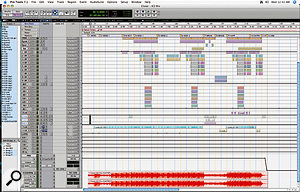 The Pro Tools Edit Window for 'Closer'. Although the song contains relatively few instrumental tracks, the track count has been bumped up by Kevin Davis's liberal use of Aux tracks and his tactic of duplicating vocal tracks to apply special effects to them. At the bottom you can see the stereo track onto which the final mix has been recorded.
