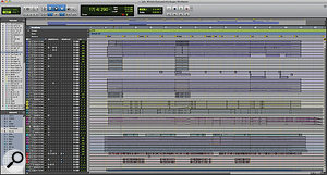 The Pro Tools Session for 'While You're Out Looking For Sugar'. Drum tracks are at the top, keyboards and other instruments in the middle, and vocals at the bottom.