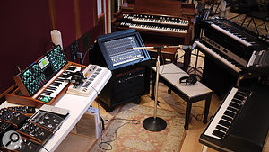A close-up of Chris Kilmore's keyboard setup at Blackbird.