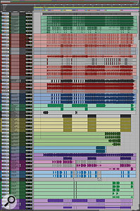 This composite screenshot shows the Pro Tools Session from 'Adolescents'. The tracks are colour-coded: bounced mixes (top) in green, then drums (red), bass (blue), guitars (various shades of green), Wurlitzer piano (purple), lead and backing vocals (pink, blue and green) and finally tambourine and sandpapered ping-pong bats (purple).