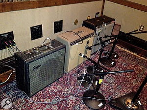 Three vintage guitar amps were used: a Supro (nearest camera) and two Fenders.