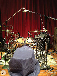 This rather blurry cameraphone photo from the Blackbird sessions shows Tony Royster Jr's drum kit, with M/S pair as overhead and Sennheiser MD421s on each tom.