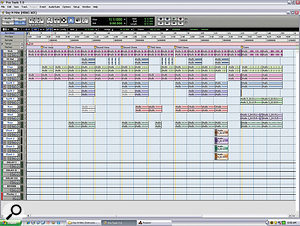 The Pro Tools Edit windows from the two 'Day 'n Nite' Sessions: one for the instrumental tracks (top), the other the vocals.