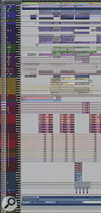 This composite Pro Tools screen shows all the audio tracks from the 'We Are Young' mix session (although many aux tracks have been removed for clarity). The tracks are arranged in colour-coded groups: from top, drums (blue), real and synth bass (dark purple), electric guitars (green), synths (purple), piano (magenta), horns (dark blue), and more brass (yellow), followed by huge numbers of vocal tracks. At the bottom you can see the rough mix and two reference tracks, by Queen and Kanye West.