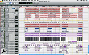 Part of the Pro Tools Edit window for Robert Orton's 'Just Dance' mix.