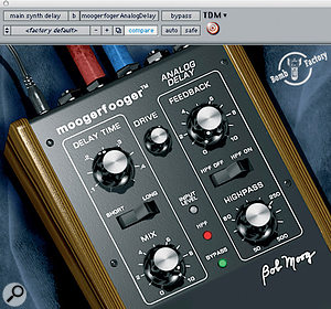 A Moogerfooger Analog Delay plug-in was added to the main synth bass part.