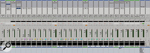 The second half of the Mix Window is devoted to vocals, plus the busses used to return the mix from Rosse's Dangerous 2-Bus summing mixer.