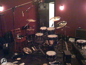 This mobile phone photo records the drum setup used throughout Scream.