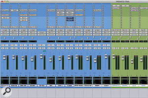 The main drum tracks in 'Paranoid': note the separate Group channels for parallel compression ('Compress') and reverb.