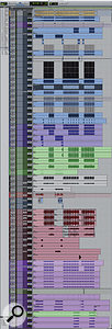This composite screenshot shows all 56 tracks of the 'Call Me Maybe' mix Session, many of which were consolidated from multiple originals to make the mix more manageable.