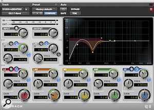 Here, the Pro Tools built‑in EQIII is notching out 150Hz on the kick drum.