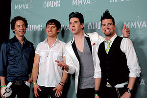 Josh Ramsay (second from right), who co-wrote and produced 'Call Me Maybe', in his day job as frontman of Canadian rockers Marianas Trench.