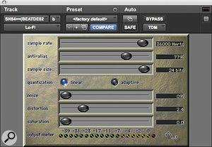 Avid's Lo‑Fi plug‑in was used to beef up the snare drum.