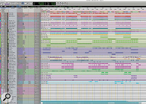 The main Pro Tools Edit window for 'Number One', with tracks organised sequentially: from top, drums, synths, strings and vocals.