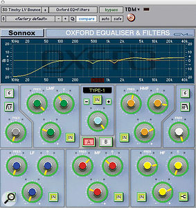 The main lead vocal processing chain was similar for both Tinchy Stryder (shown) and guest vocalist Dappy. Smith's hardware 1176 was followed by a Sonnox Oxford EQ (left), Waves C4 (top of page) with only the mid band active, Waves De‑esser and Renaissance Compressor.