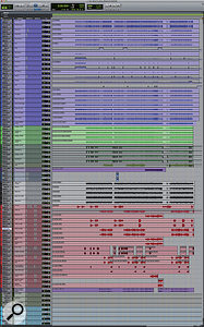 This composite Pro Tools screenshot shows the session on the 'A' rig. From top, the tracks are colour-coded purple (drums), green (guitars), grey (bass), and red (vocals). The grey and blue tracks at the bottom are auxiliary tracks containing send effect plug-ins.