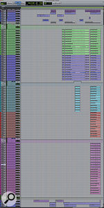 The 'B' rig Pro Tools session contained synth parts and loops (top and bottom) and four takes of asmall string section.