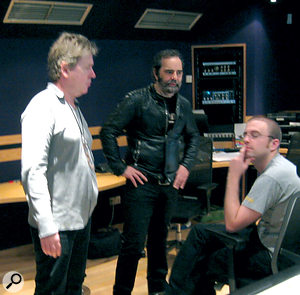Declan Gaffney (right) with co‑producers Steve Lillywhite (left) and Daniel Lanois (centre).
