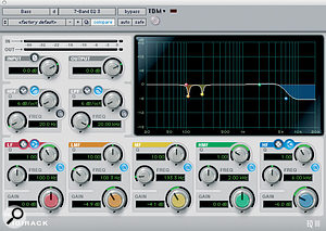 Declan Gaffney's go‑to processing for Adam Clayton's bass involves Digidesign's Digirack EQ, Cranesong's Phoenix Dark Essence (both top) and the Massey L2007 limiter (below). The Sansamp plug‑in was used to dirty up the sound for four bars.