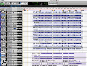 The Pro Tools Session for 'Stop & Stare'; drum tracks (below) were bounced to analogue tape at various different level settings to obtain tape compression.