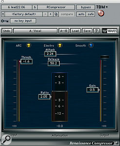 As well as using outboard processing on Shakira's lead vocals, Serge Tsai used Waves' Renaissance De-esser and Compressor.