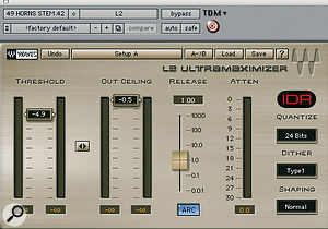 The horn sample at the heart of the song was treated in order to make it sound fuller, with the Digirack Mod Delay II and Waves PS22 Spread plug-ins, and using Waves L2 Ultramaximizer to make it stand out more.