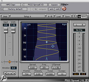 A sampled handclap was made to stand out in the track by the application of heavy low-end boost, shelving cut above 12kHz and stereo widening.