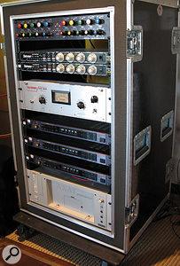 One of Mark Endert's outboard racks at Scream Studios, featuring (from top), GML EQ, Empirical Labs Distressor compressor (x2), Teletronix LA2A compressor, Roland SDE3000 digital delay (x3) and Akai S6000 sampler.