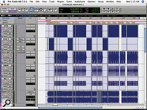 Although 'Stronger' had relatively few drum tracks, a  lot of processing was applied, most notably the multi–band compression and extreme EQ used to craft the four–to–the–floor kick drum.