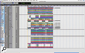 Tom Elmhirst prefers not to use the Pro Tools Mix window, and pre-mixes Sessions to make everything fit on a single Edit window screen (see key overleaf).