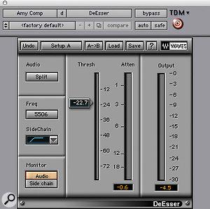 Waves' <em>De-esser</em> was employed on Amy Winehouse's lead vocal to cut sibilance.