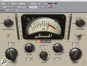 Digidesign's Smack compressor was used to add drive to the bass track during the chorus only.