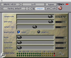 Reducing the bit depth and sample rate with Digidesign's Lo-fi helped fit the timpani into the track.