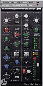 The loops were also extensively treated. Waves' Renaissance Bass plug–in added low end to the handclap tracks, which were also gated and EQ'ed using Waves' SSL E–channel and shaped using TransX Wide.