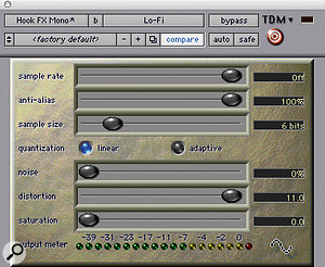 Digidesign's Lofi plugin helped to make the keyboard sound gritty.