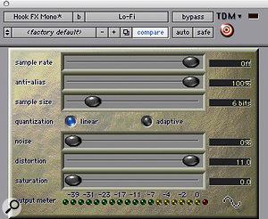 Digidesign's Lofi plugin helped to make the keyboard sound gritty.