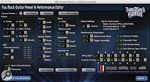 The You Rock Guitar's Control Panel software offers impressively in‑depth editing capabilities.